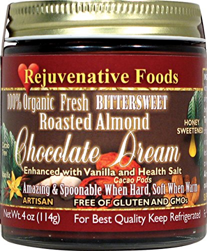 (Vanilla Honey Roasted Almond Bittersweet Chocolate Smooth-Dream Pure Fresh Dairy-Free StoneGround 100%-Certified-USDA-Organic white-sugar-free Antioxidants fudge candy-in-glass Rejuvenative Foods-9oz)