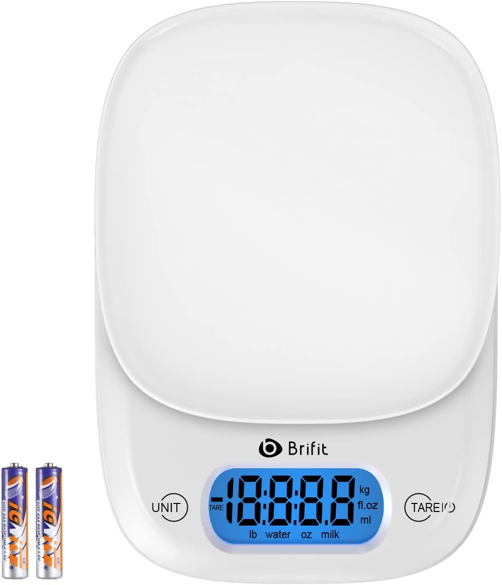 Brifit Digital Kitchen Scale, 11lb/5KG, Electronic Food/Baking Scale with Backlight LCD Display, Tare Function, Accurate Weighing Water, Milk, Liquids & Foods, Auto OFF, Batteries Included (White)