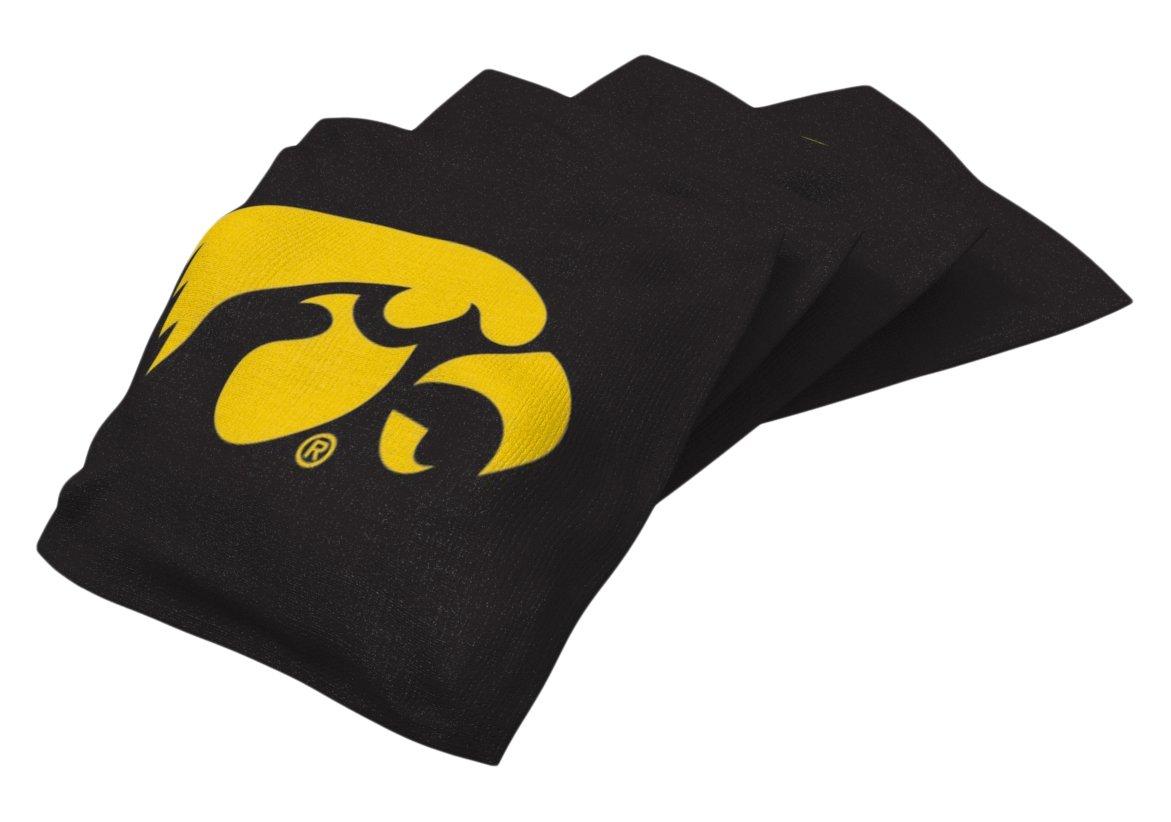 Wild Sports NCAA College Iowa Hawkeyes Black Authentic Cornhole Bean Bag Set (4 Pack)