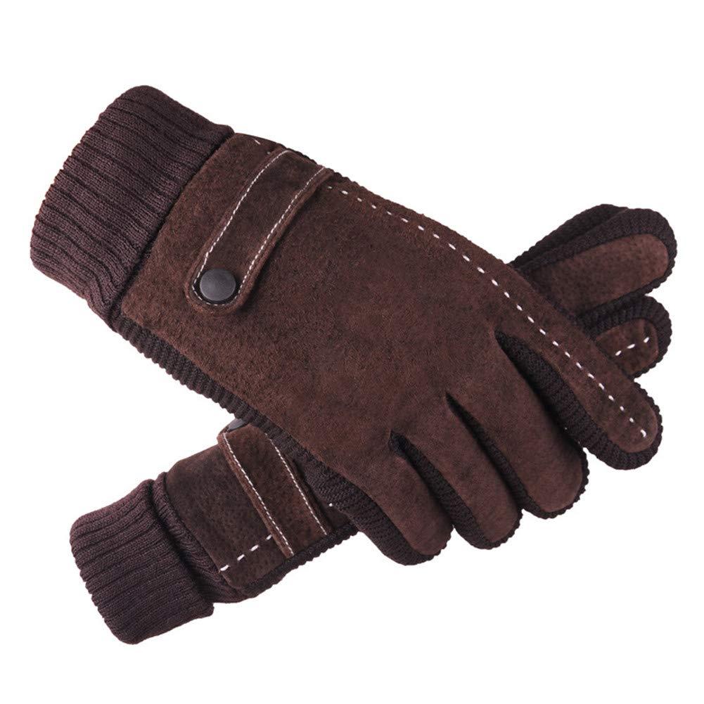 Aimeely Stylish Mens Pigskin Leather Winter Warm Gloves Thicken Riding Mittens