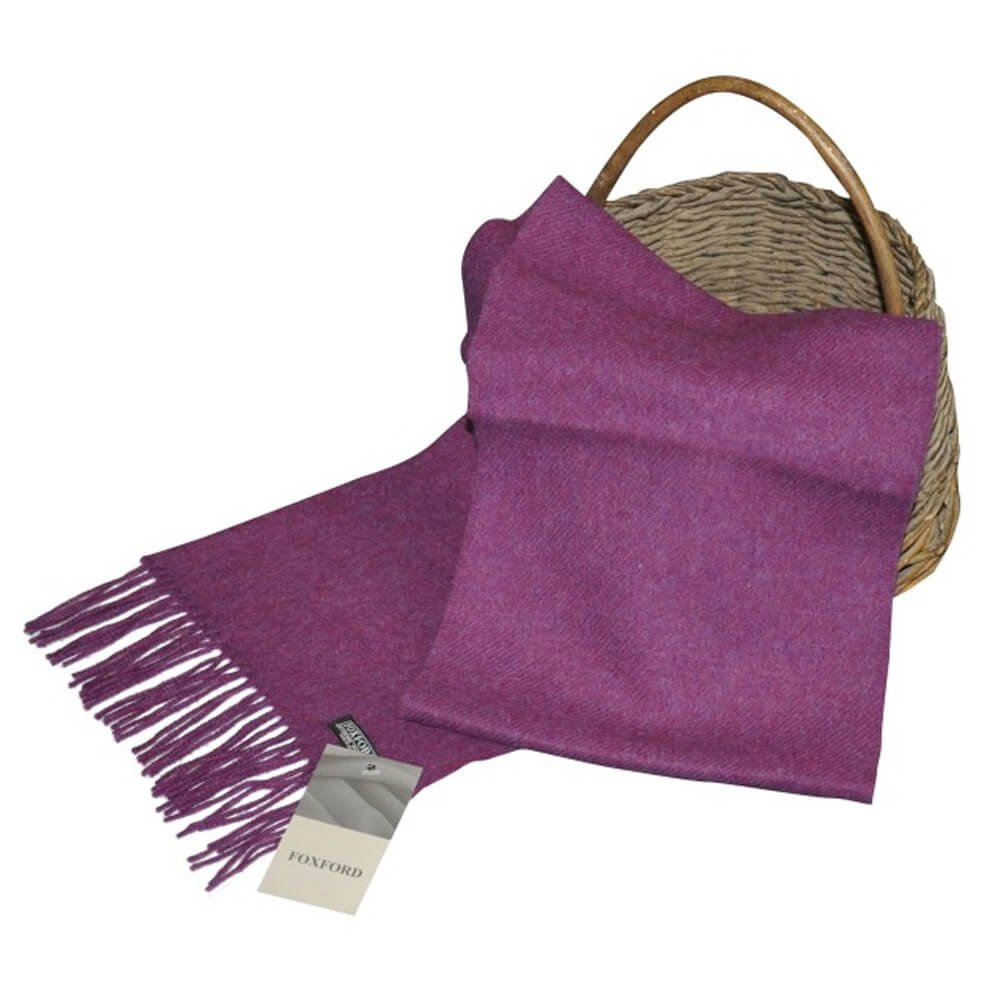Ladies Wool Scarf, 100% Lambswool extra soft, Imported from Ireland, Purple