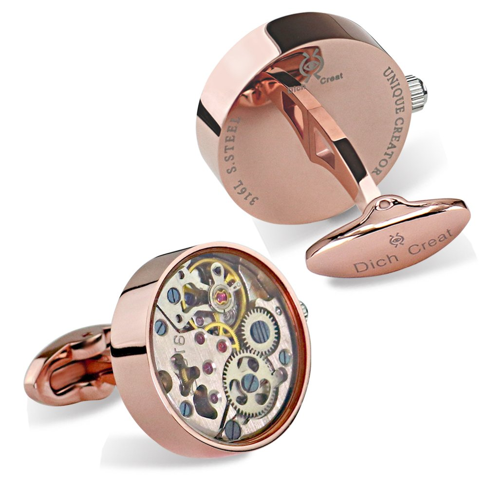 Dich Creat Rose Gold PVD Stainless Steel Wind-up Movement Cufflinks Covered with Glass
