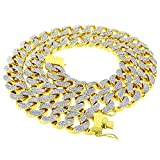 14k Gold Finish 18mm 30'' Fully CZ Iced Out Hip Hop Miami Cuban Chain Necklace Mens (Chain 30'')