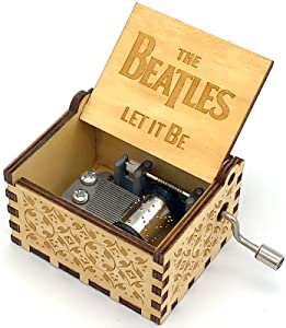 N/C Wood Hand Crank Engraved Vintage Wooden Music Box Wedding Valentine Christmas Birthday Gift - The Beatles Let It Be