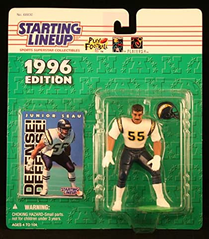 JUNIOR SEAU / SAN DIEGO CHARGERS 1996 NFL Starting Lineup Action Figure & Exclusive NFL Collector Trading (Junior Seau)