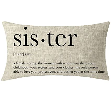 NIDITW Great Sister Birthday Gift From Brother With Sweet Warm Quote Beige Waist Lumbar Cotton