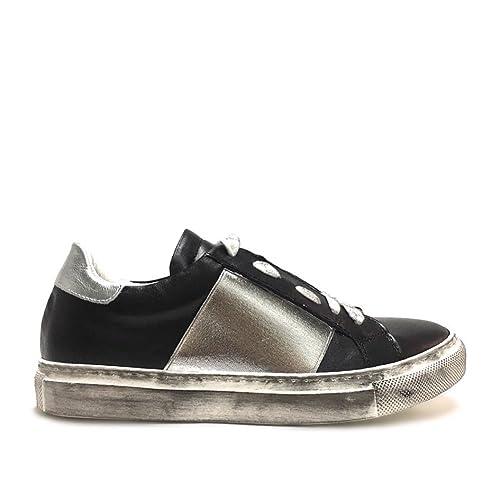 Sneakers nere da donna con elastico argento vera pelle made