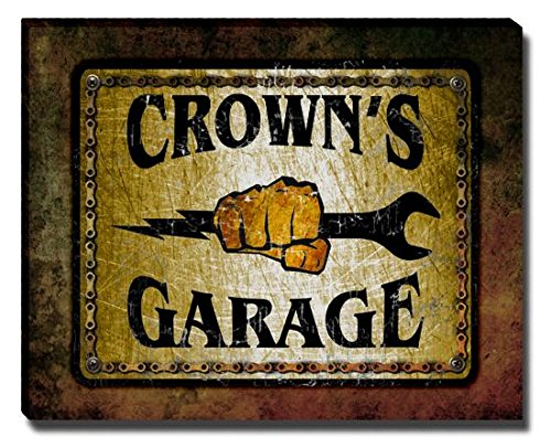 crowns-garage-stretched-canvas-print