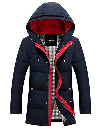 Menschwear Herren Winter Warme Jacke Daunenjacke Kapuze schlanke Passform  (X-SNavy)