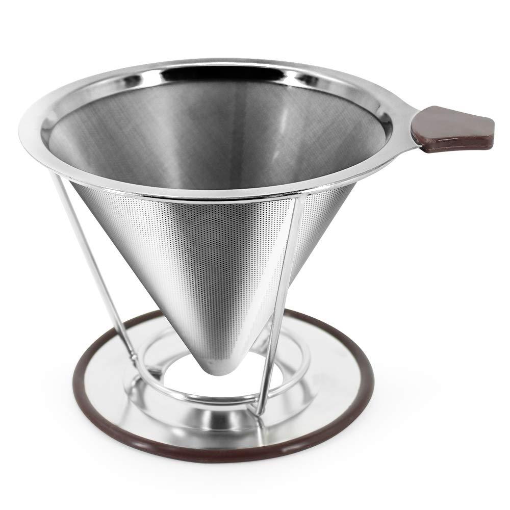 Pour Over Coffee Dripper - 再利用可能なドリップコーヒーフィルター Chemex and Hario V60用 (ブラウン)   B07J2CSFZH