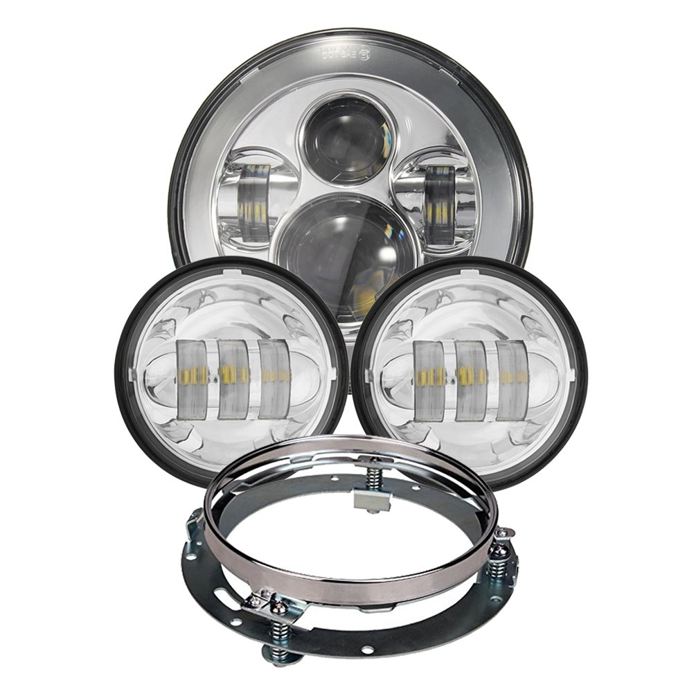 Chrome Harley Daymaker 7inch LED Headlight with 4.5inch Matching Chrome Passing Lamps for Harley Davidson Motorcycles with Adapter Ring