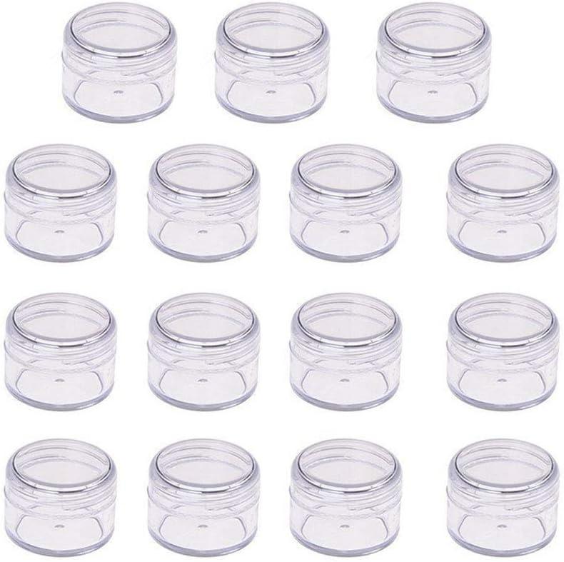 Suneste 15 Unidades 2 g/2 ml vacías tarros de plástico para cosméticos con Tapa, Transparente de Viaje, contenedores de Muestra para cremas Maquillaje loción Purpurina Polvo Almacenamiento