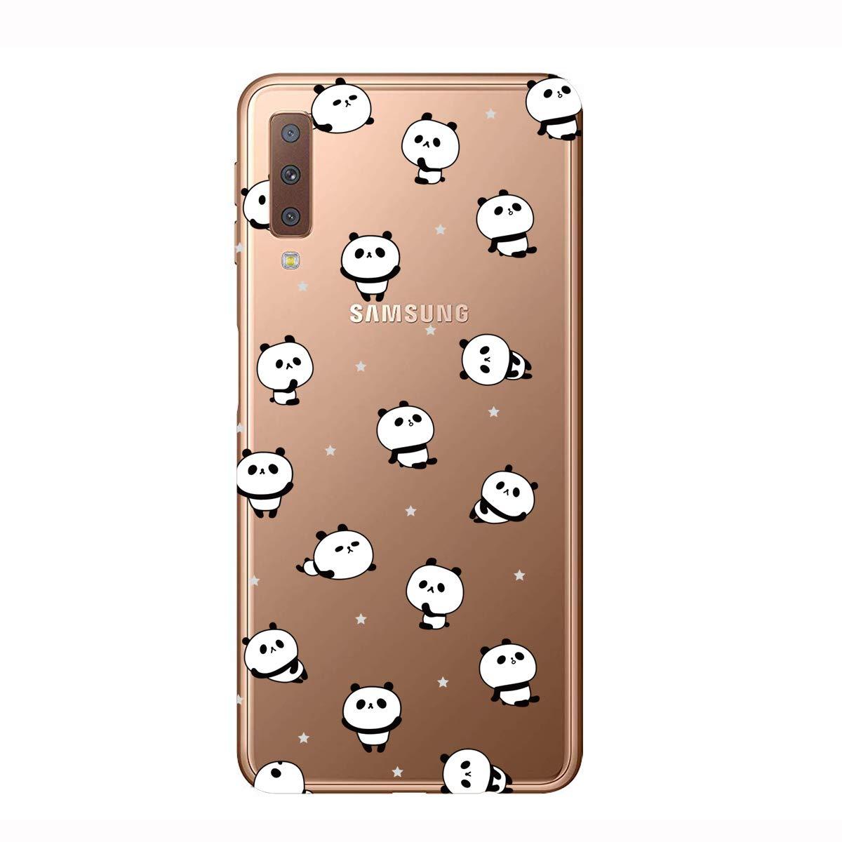 HopMore 3X Coques Coque pour Samsung Galaxy A7 2018 Transparente Motif Swag Silicone Souple Etui Antichoc Mince Fine Case /Étui Housse Transparent Design pour Fille Femme Homme Panda Cactus Queen