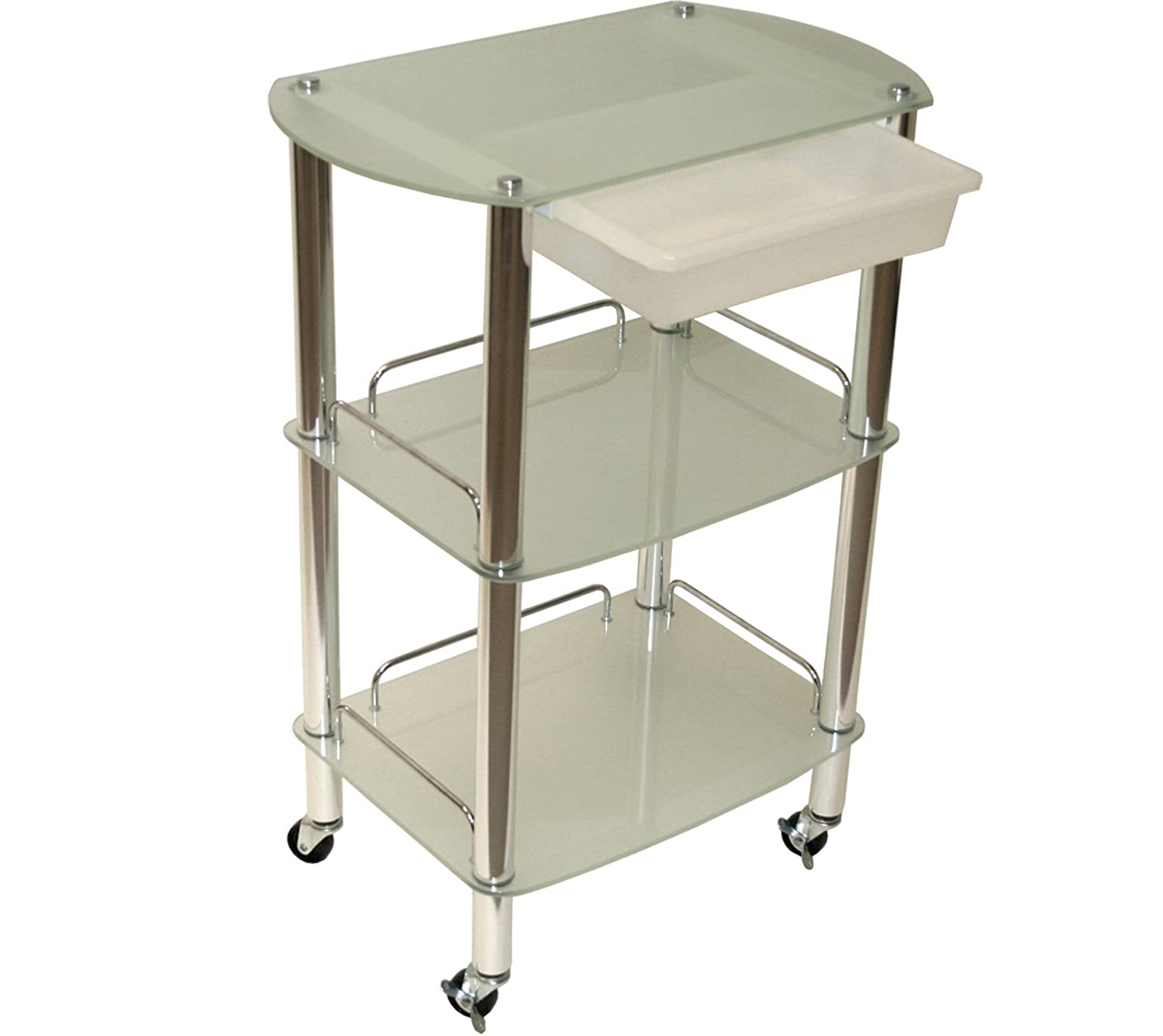 LCL Beauty Extra Large Glass Chrome Roller Trolley with Slide-Out Removable Storage Bin