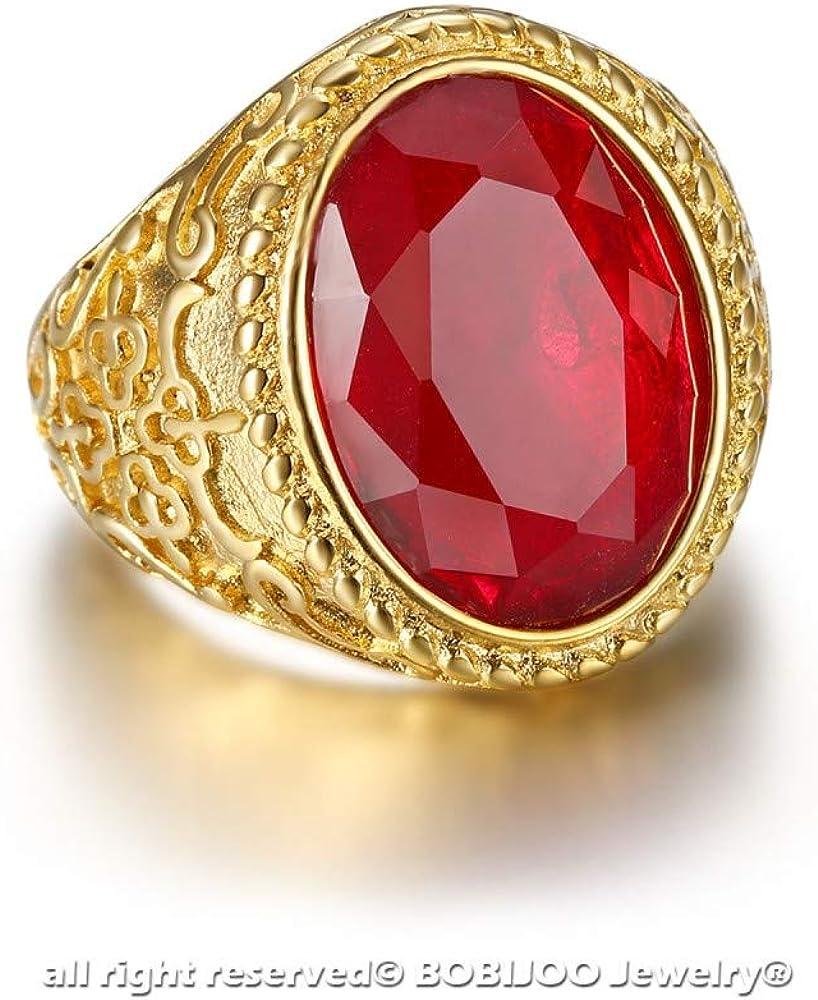 Imposante Bague Chevali/ère Homme Voyageur Gitan Acier Dor/é Or Plaqu/é Faux Rubis BOBIJOO Jewelry