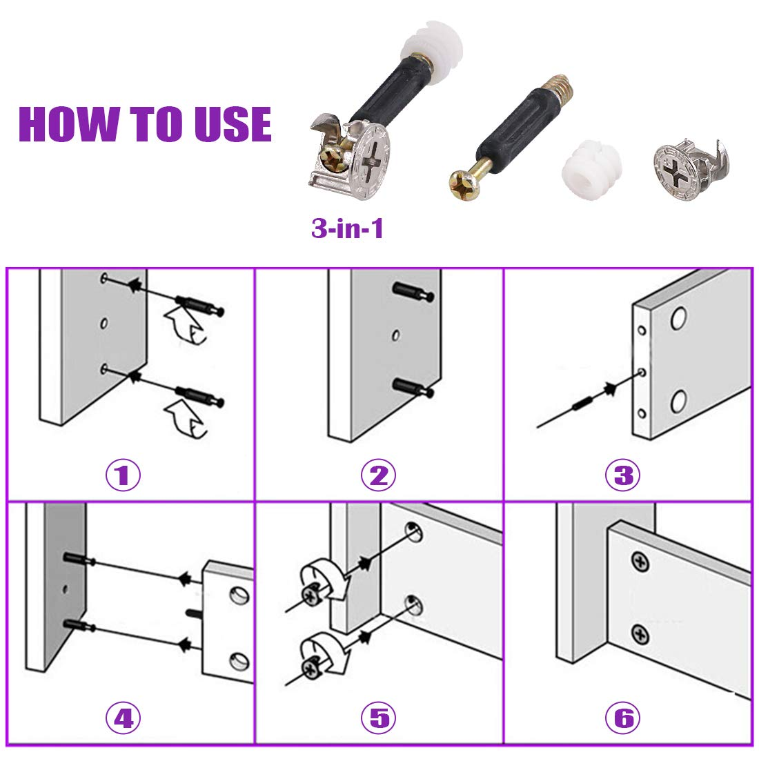 Cam Fitting with Dowel 3-in-1 Hardware Connectors Furniture Side Connecting Pre-Inserted Nut Screw Eccentric Wheel 125Pcs 3 in 1 Furniture Crib Hardware Screws Connecting Fittings Kit