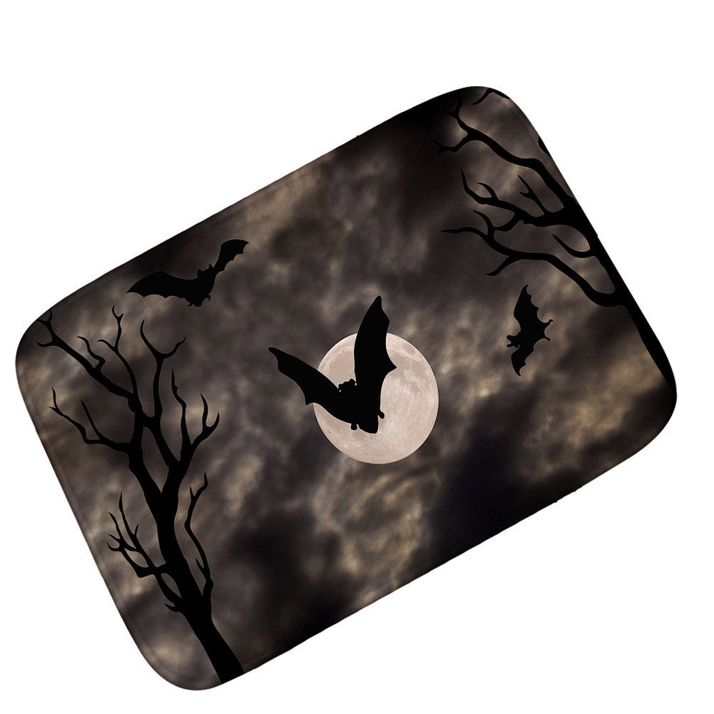 Pgojuni Flying Broom Witch Halloween Horror Ghost Door Entry Pad Carpet 1pc 40x60CM (A)