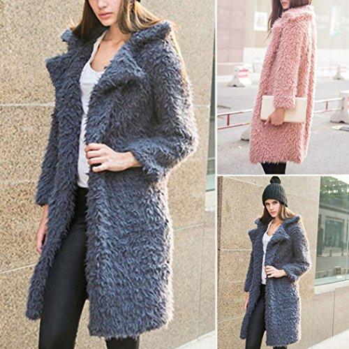 Mioim Damen Trenchcoat Plüsch Mantel Winterjacke übergangsjacke