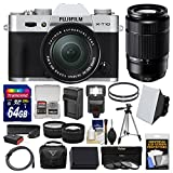 Fujifilm X-T10 Digital Camera & 16-50mm II XC (Silver) & 50-230mm Lens + 64GB Card + Case + Flash + Battery & Charger + Tripod + Tele/Wide Lens Kit