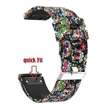 Correa de reloj, yustar Fitness Tracker accesorios repuesto impreso silicona rápido ajuste fácil correa de