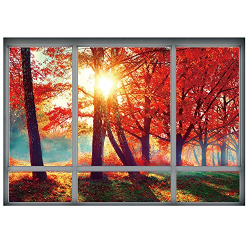 yazi 3D Window Decal WALL STICKER Falling Autumn Leaves Home Decor Art Wallpaper Mural 20''H x 26.7''W (Falling Leaves Wall Sticker)