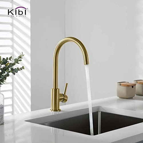 KIBI Lowa Lead Free High Arc Solid Brass Kitchen Faucet, Single Level Bar Prep Kitchen Sink Faucet, Easy Installation Single Handle Kitchen Faucet for Kitchen Sink Brushed Gold W Soap Dispenser