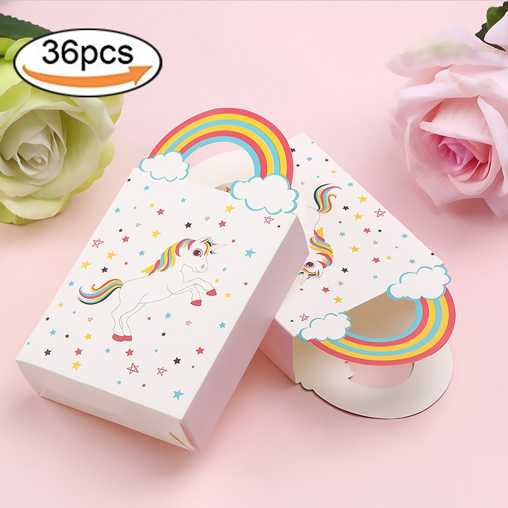 Morinostation 36pcs Unicorn Party Bags, Paper Rainbow Unicorn Gifts Bags for Kids Birthday Unicorn Party Supplies