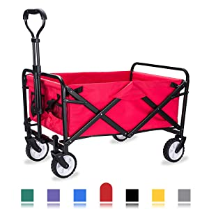 WHITSUNDAY Collapsible Folding Garden Outdoor Park Utility Wagon Picnic Camping Cart with Replaceable Cover (Compact Size, Red)