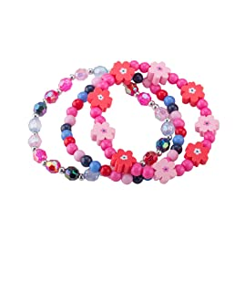 minihope Girls Fashion Bead Bracelet Charm Flower Bracelet Vitality Stretch Bracelets for Little Girls Kids Jewelry Set of 3