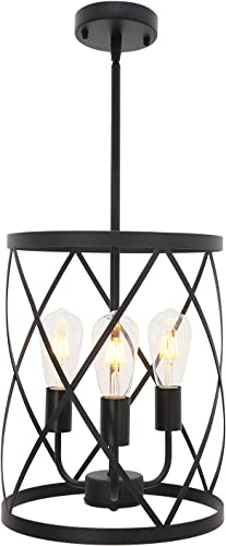 ELUZE Vintage Pendant Light,3-Light Farmhouse Hanging Lighting with Metal Cage Shade, Oil Rubbed Bronze Finish Lighting for Bedroom Living Room Kitchen Island Dining Room Farmhouse Entryway Hallway