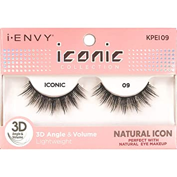 149a125cd80 Image Unavailable. Image not available for. Color: Kiss I Envy Iconic  Collection Lashes #09 3D Angle & Volume (Natural)