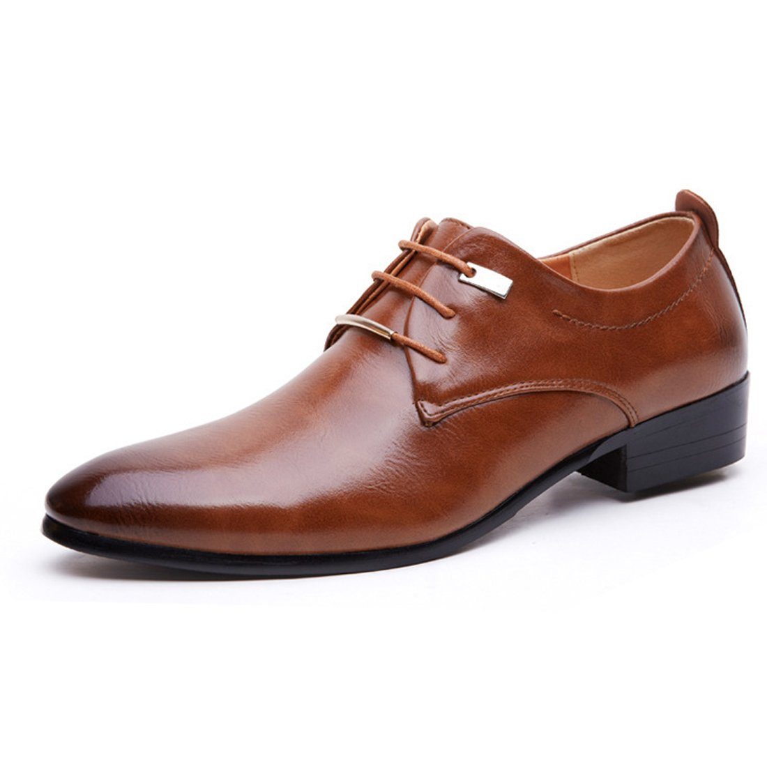 Men Pointed Toe Business Dress Formal Leather Shoes Flat Oxfords Loafers Slip On Brown by Gaorui