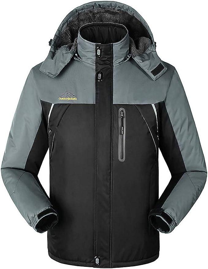 メンズ防水スキージャケット、防風アウトドアマウンテンパーカーフリースジャケット、フード付き、メンズフリースジャケット加熱ジャケット