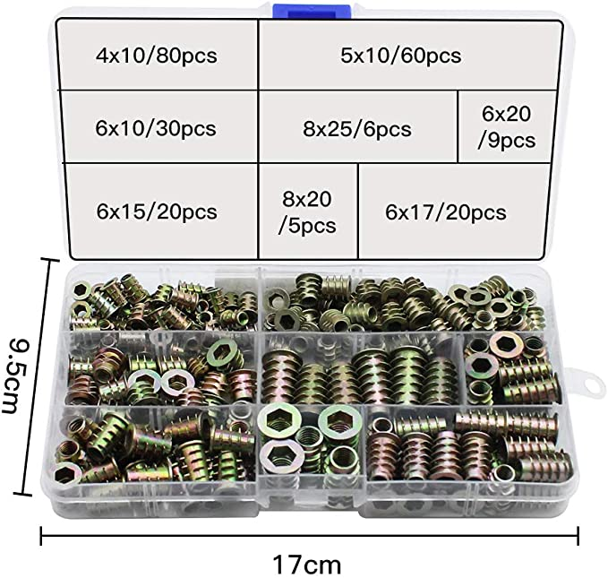 vierzackige T-Mutter Zinkenmutter M3 M5 M6 M8 90 St/ück f/ür Holzm/öbel mit Kunststoffbox