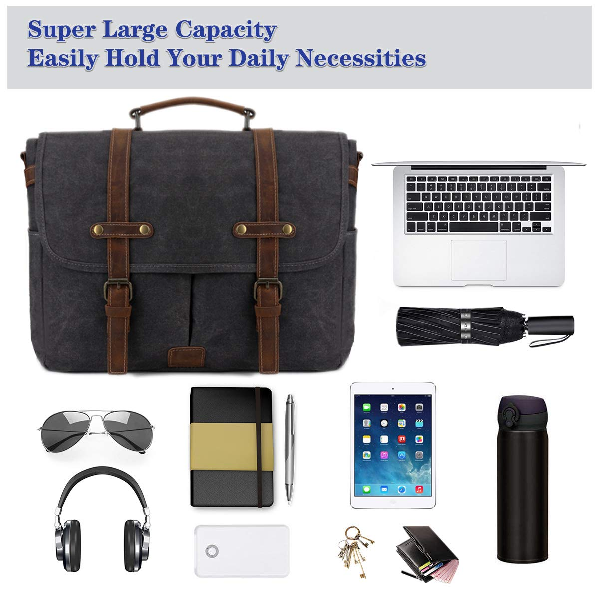 SOAEON Mens Messenger Bag,Laptop Bag 15.6 inch,Waterproof Vintage Canvas Briefcase, Leather Computer Bag for Business&School Travel Grey by SOAEON (Image #4)