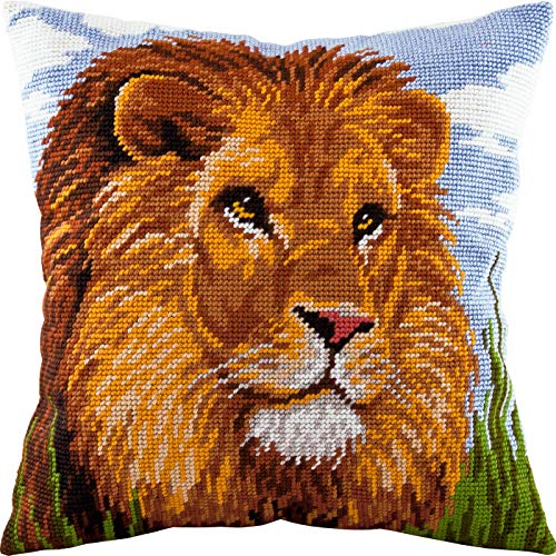Lion. Cross Stitch Kit. Throw Pillow Case 16×16 Inches. Home Decor, DIY Embroidery Needlepoint Cushion Cover Front, Stamped Tapestry Canvas, European Quality. Africa, Tropical, Cat, Wild Animals