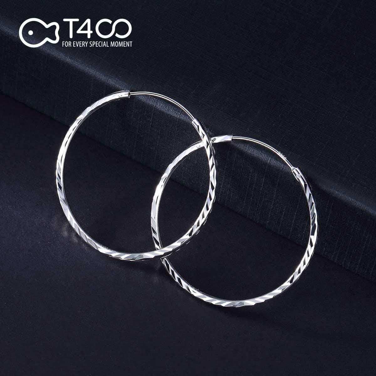 diam/ètre 25-65mm T400 Jewelers Boucles doreilles Cr/éoles en Argent Sterling 925 Bijoux pour Femmes Grand Cerceau Cadeaux pour Femmes Filles