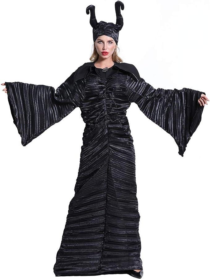 Shihong-G Disfraz de Cosplay de Halloween de la Reina Malvada Maléfica para Mujer Disfraces de Bautizo Negro para Adultos Vestido de Fiesta Cosplay: Amazon.es: Ropa y accesorios