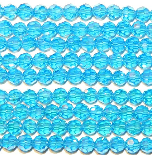 Bead Jewelry Making Aquamarine Blue 6mm Faceted Round Crystal Beads 22