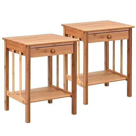 Amazon.com: 2 estantes de mesa de bambú de 20.0 in multiusos ...