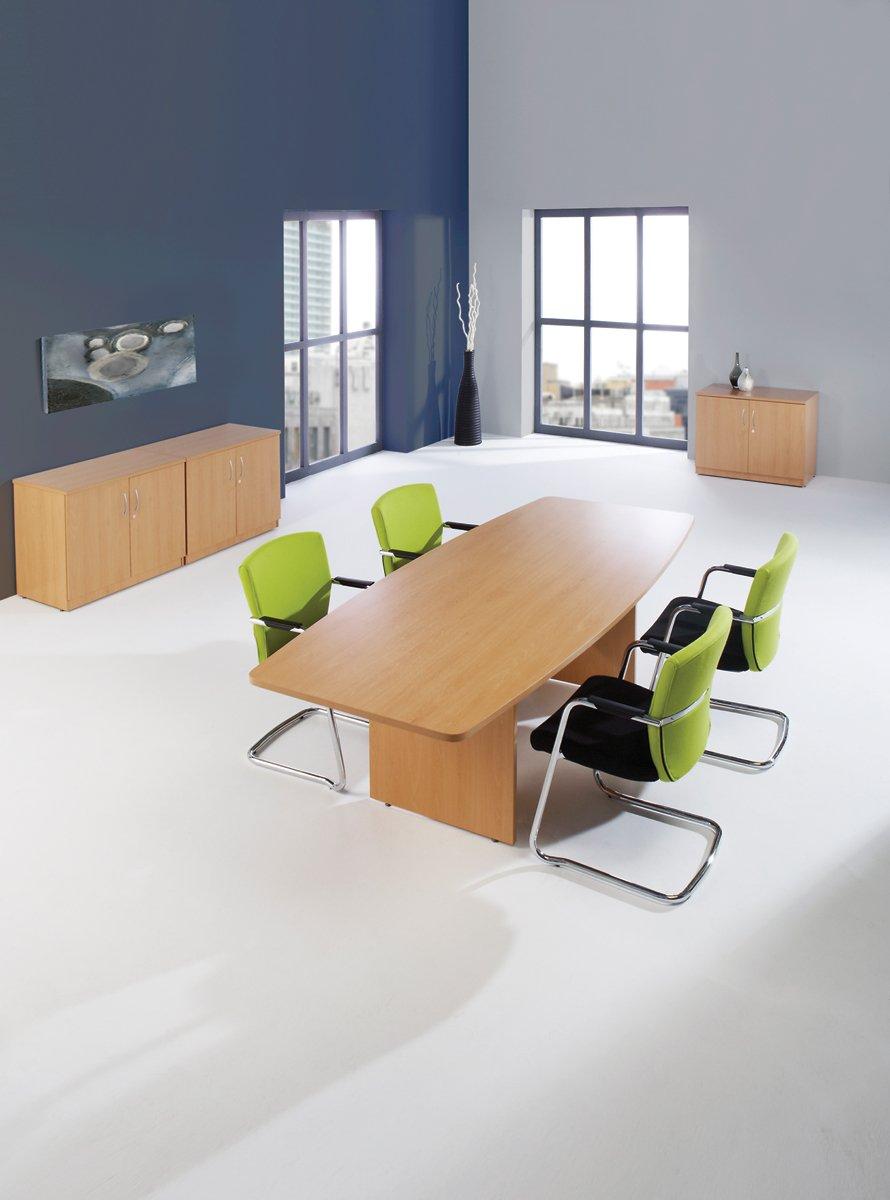 240 cm x 142 cm White MFC Office Hippo Fraction Barrel Shaped Panel Leg Boardroom Table