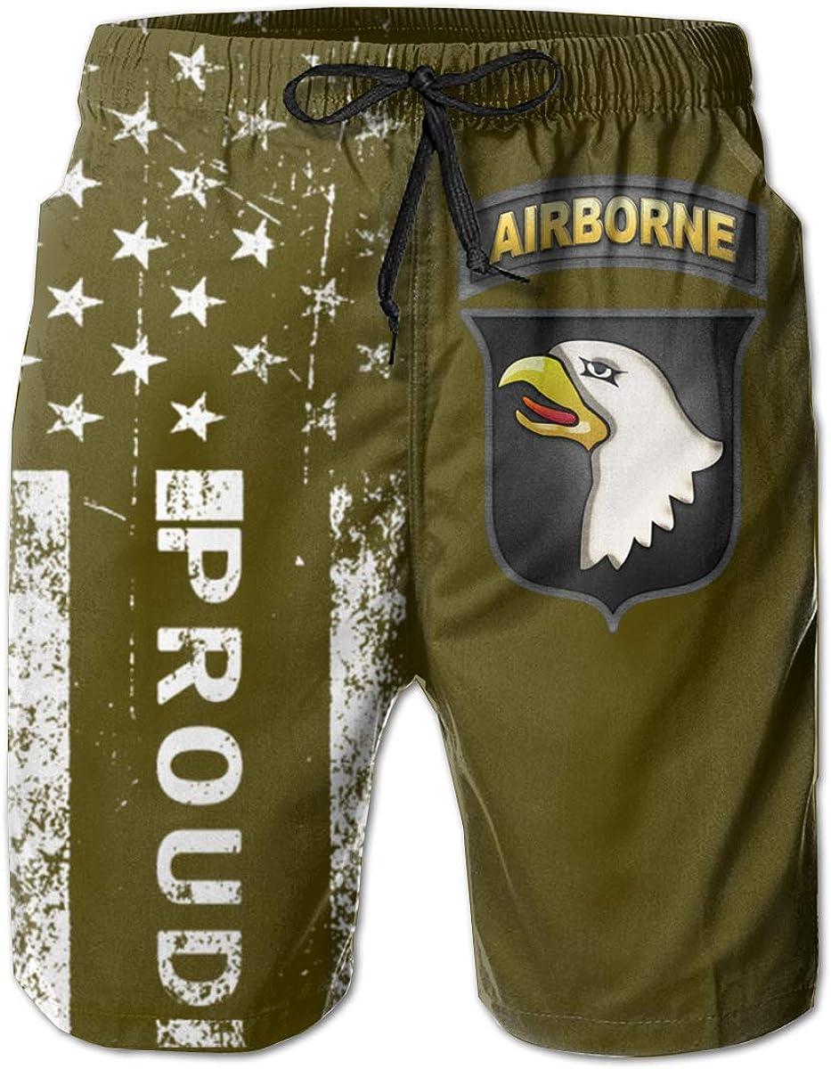 SUNSUNNY 101 Airborne Division Insignia Mens Boardshorts Swim Trunks Beach Athletic Shorts