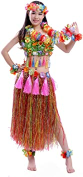 Adulto hawaiano Hula Dancer hierba falda traje conjunto hawaiano ...