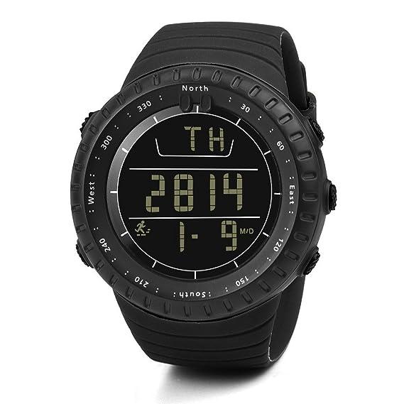 ... Chicos Inteligente Digital Smartwatch Correa de Silicona Multifunciónal Hodómetro LED Resistente al Agua Calendario Moda Negro: Amazon.es: Relojes