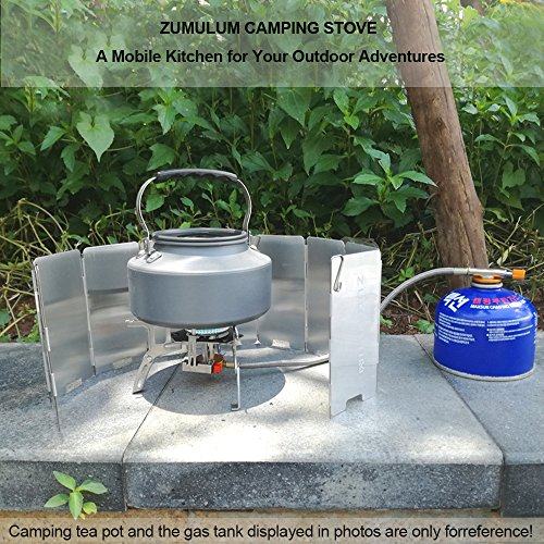 ZUMULUM Outdoor Camping Stove w Aluminum Windscreen 3500W Ultralight Compact Foldable Backpacking Gas Stove, 9-Plate Camp Stove Windscreen Windshield .Emergency and Survial Preparation.