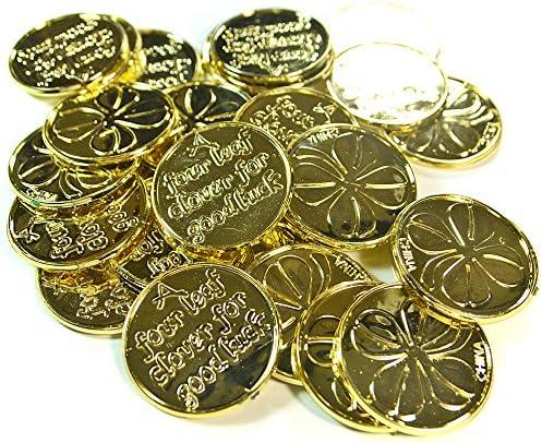 30-ct Patrick/'s Day Shamrock Coins Packs 2 Plastic St