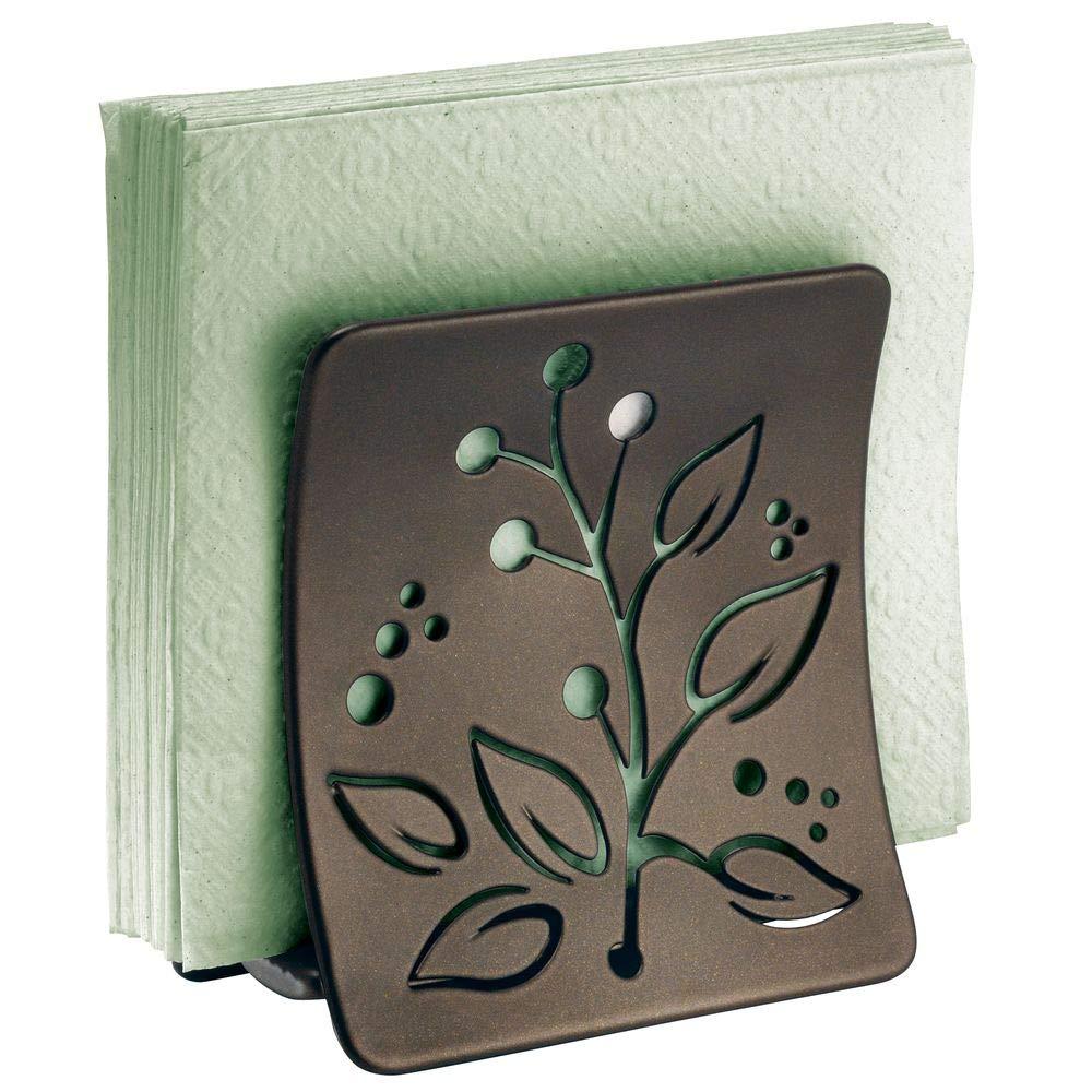 mDesign Servilletero de mesa o para la encimera de la cocina Porta servilletas de acero en color bronce con adornos de hojas Soporte para servilletas de papel o de tela