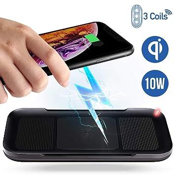 ACTOPP Cargador Inalámbrico Qi Estación de Carga 3 Bobinas Cargador Rápido 10W para iPhone XS Max/XR/XS/X/8/8 Plus Samsung Galaxy S9/S9+/S8/S8+/Note ...
