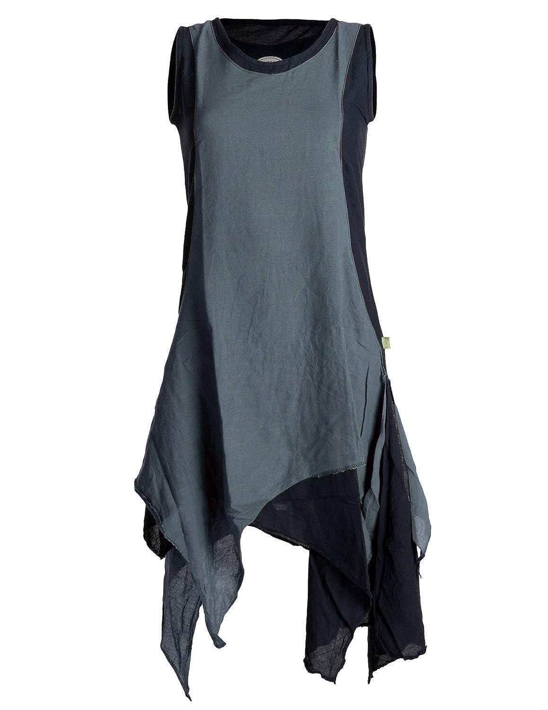 Vishes - Alternative Bekleidung - Ärmelloses Zipfeliges Lagenlook Kleid Tunika aus handgewebter Baumwolle B01JK3ISBU Blausen & Tuniken Mode