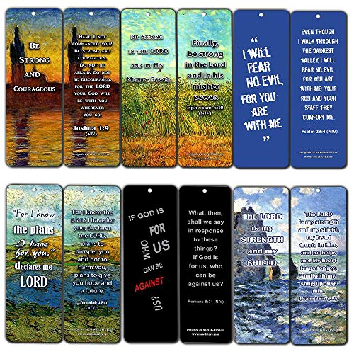 Inspirational Bookmark - Christian Inspirational Bookmarks Cards - Be Strong NIV (60-Pack) - Jeremiah 29:11 Stocking Stuffers for Baptism, Youth Group, Cell Group, VBS Bible Study, Mission Trip - Best Church Supplies